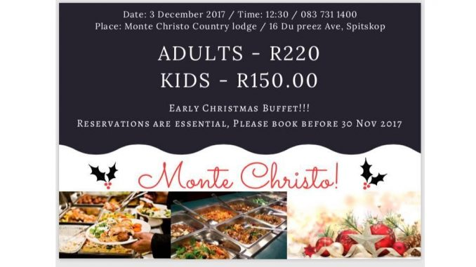 Early Christmas Buffet at Monte Christo Country Lodge   Bloemfontein Tourism