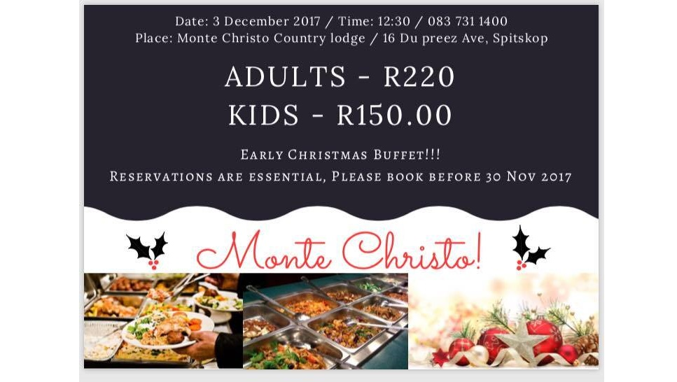 Early Christmas Buffet at Monte Christo Country Lodge